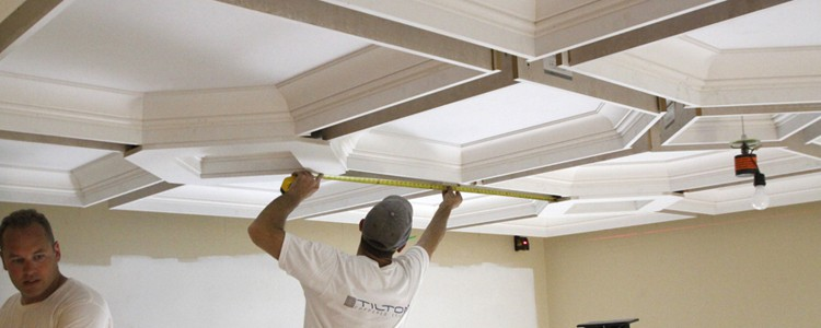 Coffered ceiling diy how to easily install a coffered for How to build a box beam