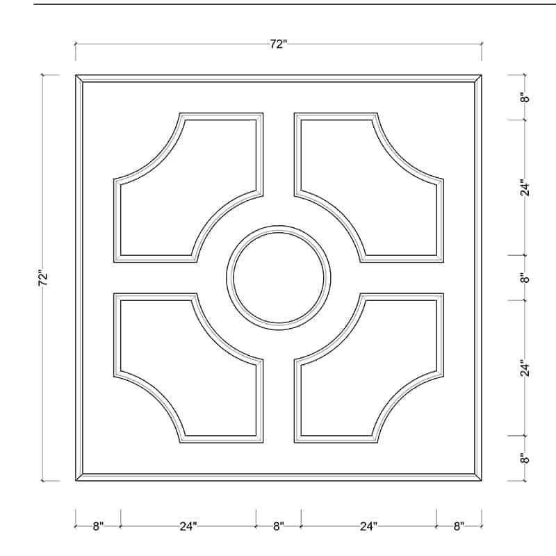 coffered ceiling medallion kit MED-72-CIR-2 | ceiling system | ceiling tile | faux beams