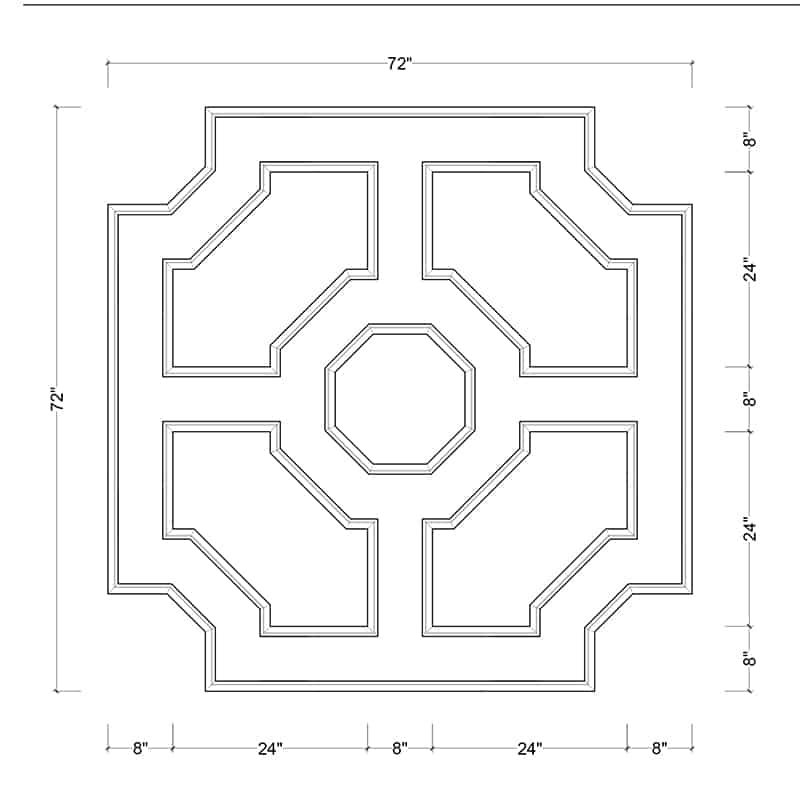 coffered ceiling medallion kit MED-72-OCT-3 | ceiling system | ceiling tile | faux beams