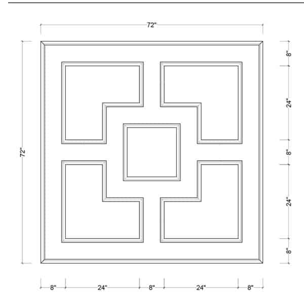 coffered ceiling medallion kit MED-72-SQR-1 | ceiling system | ceiling tile | faux beams