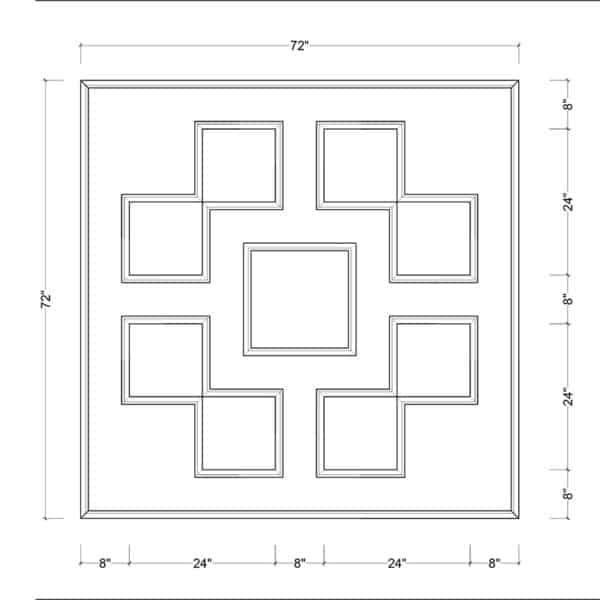 coffered ceiling medallion kit MED-72-SQR-2 | ceiling system | ceiling tile | faux beams