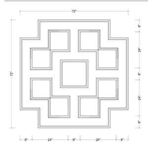 coffered ceiling medallion kit MED-72-SQR-3 | ceiling system | ceiling tile | faux beams