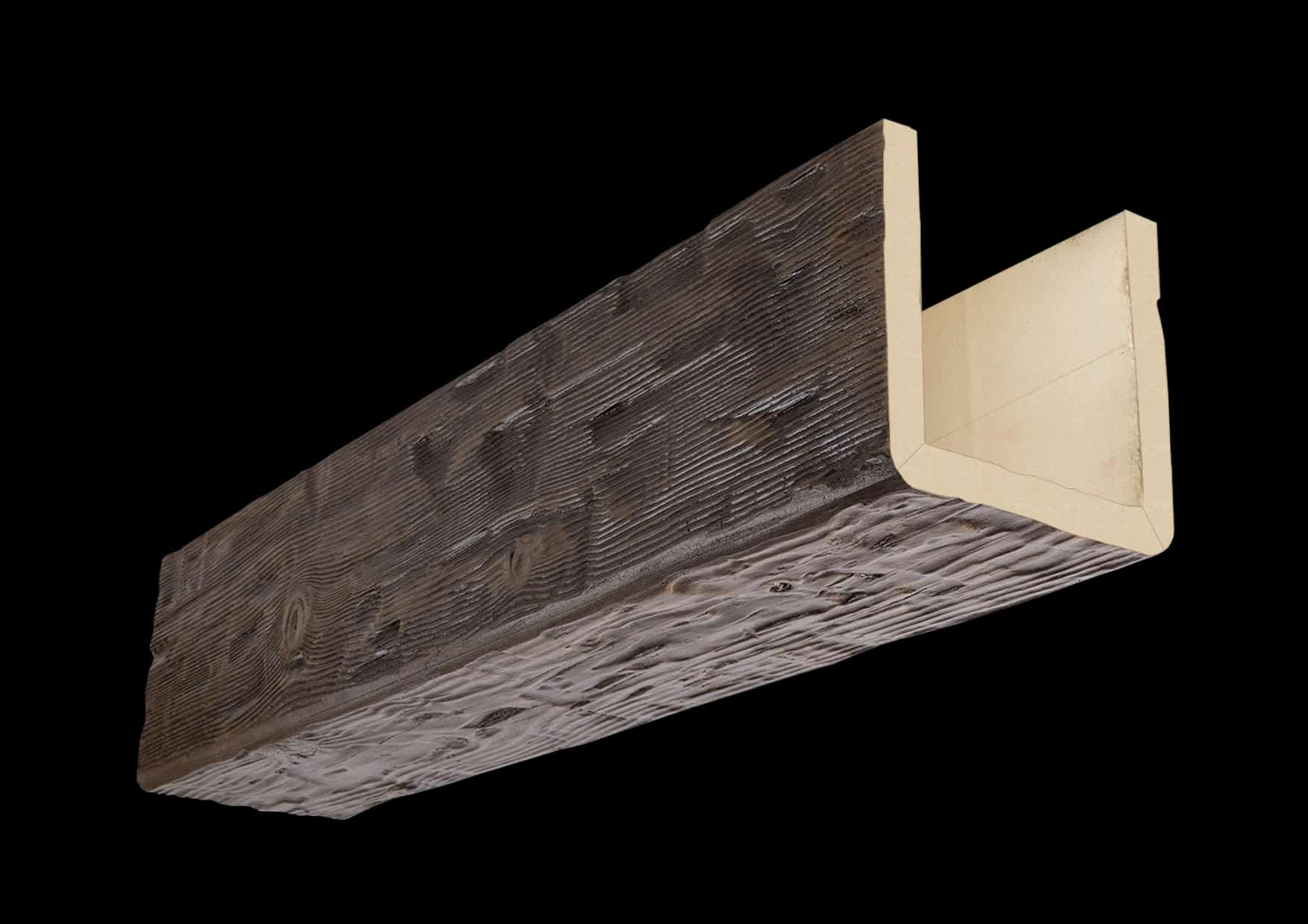 Faux Wood Ceiling Beam Assembled - Hand Hewn - Dark Walnut (1b)