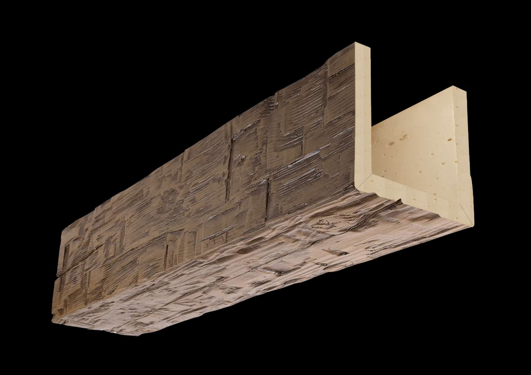 Faux Wood Ceiling Beam Assembled - Hand Hewn - Light Walnut (1b)
