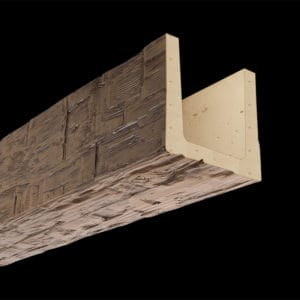 Faux Wood Ceiling Beam Molded - Hand Hewn - Light Walnut (2b)