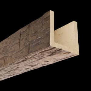 Faux Wood Ceiling Beam Assembled - Hand Hewn - Light Walnut (2b)