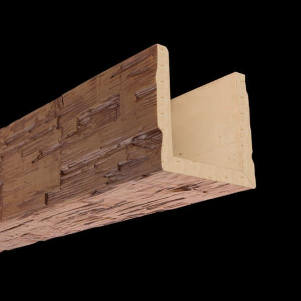 Faux Wood Ceiling Beam Assembled - Hand Hewn - Oak (2b)