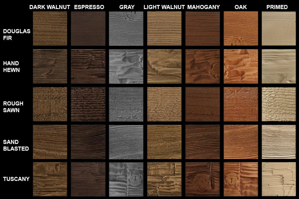 Faux Wood Texture & Color Options Chart