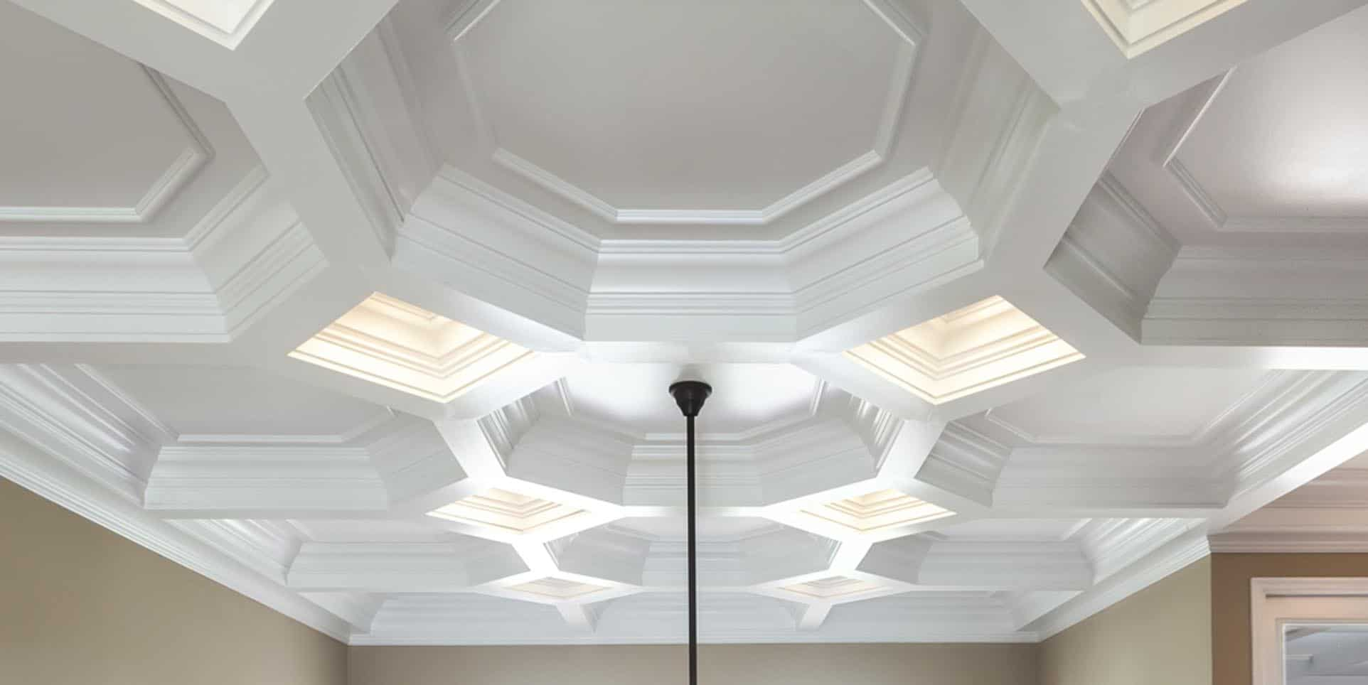 coffered ceiling coffered ceilings ceiling treatment ceiling design ceiling panel faux - Ceiling Molding Design Ideas