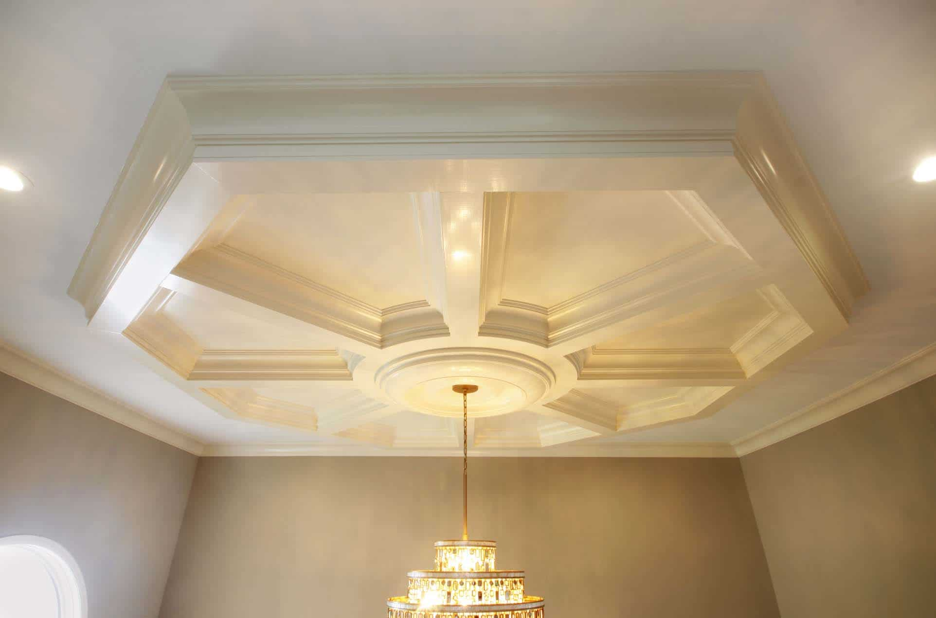 Pre-fabricated custom wood & MDF box beam coffered ceilings. Design options to fit any ceiling size, shape, type or style (flat, vaulted, cathedral, tray)