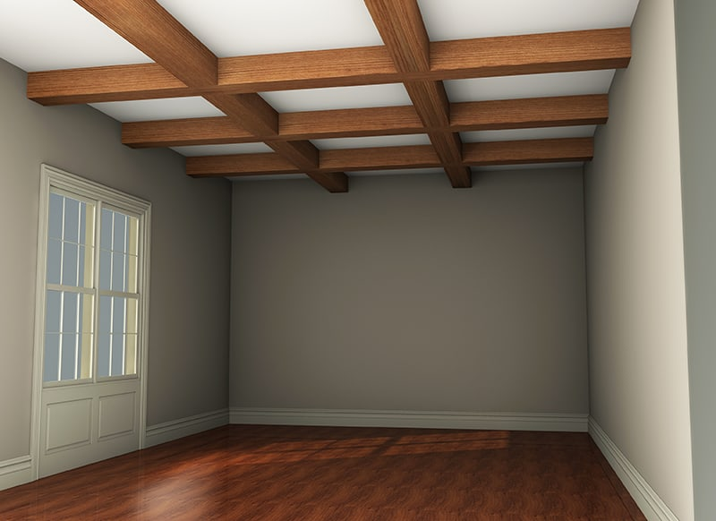Faux Wood Ceiling Beams - Full Room Rendering