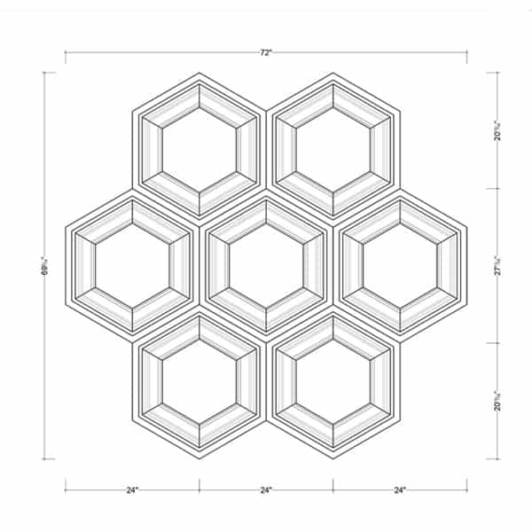 Coffered Ceiling Tile DMT-HEX-24X24 - Combined Section (A)