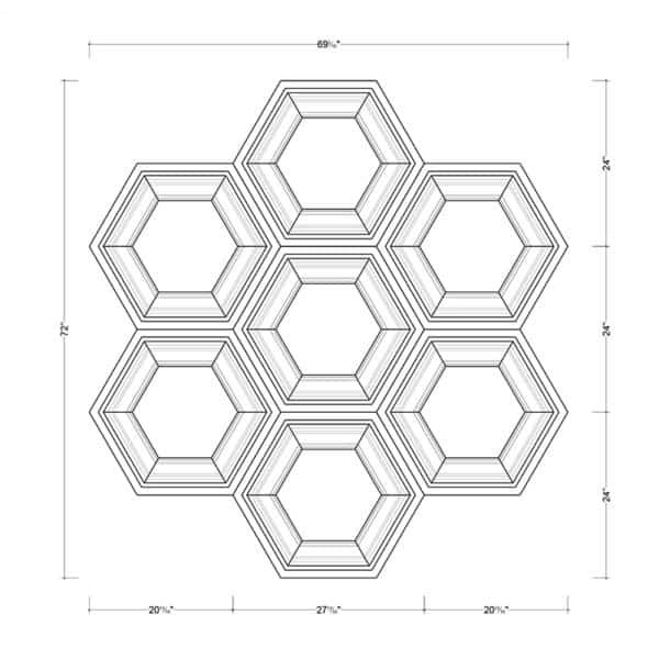 Coffered Ceiling Tile DMT-HEX-24X24 - Combined Section (B)