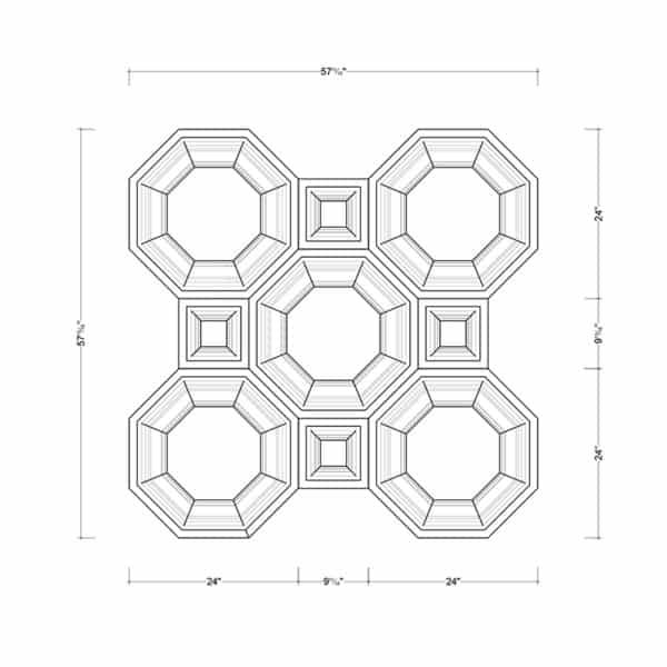 Coffered Ceiling Tile DMT-OCT-24X24 & DMT-SQR-10X10 - Combined Section (A)