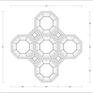 Coffered Ceiling Tile DMT-OCT-24X24 & DMT-SQR-10X10 - Combined Section (B)