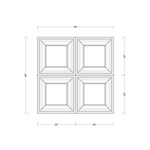 Coffered Ceiling Tile DMT-SQR-24X24 - Combined Section (A)