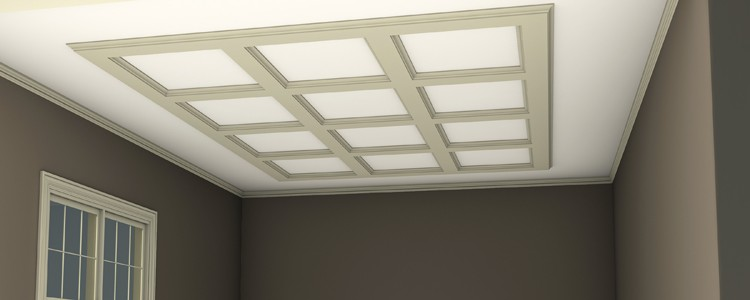 Shallow-Beam Coffered Ceiling - Termination Into Ceiling