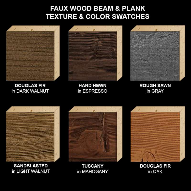 Faux Wood Ceiling Beam Texture & Color Sample Kit STAINED ALL