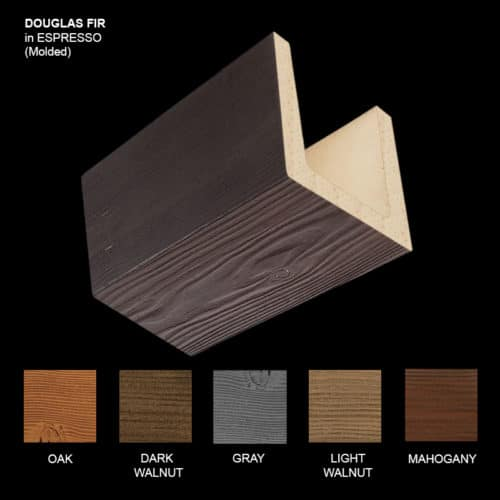 Faux Wood Ceiling Beam Sample - Douglas Fir - Espresso - Molded