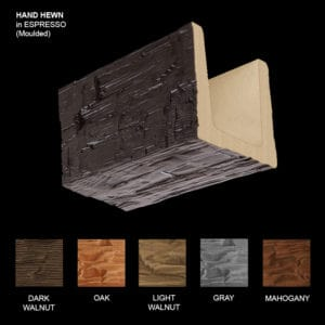 Faux Wood Ceiling Beam Sample - Hand Hewn - Espresso - Molded