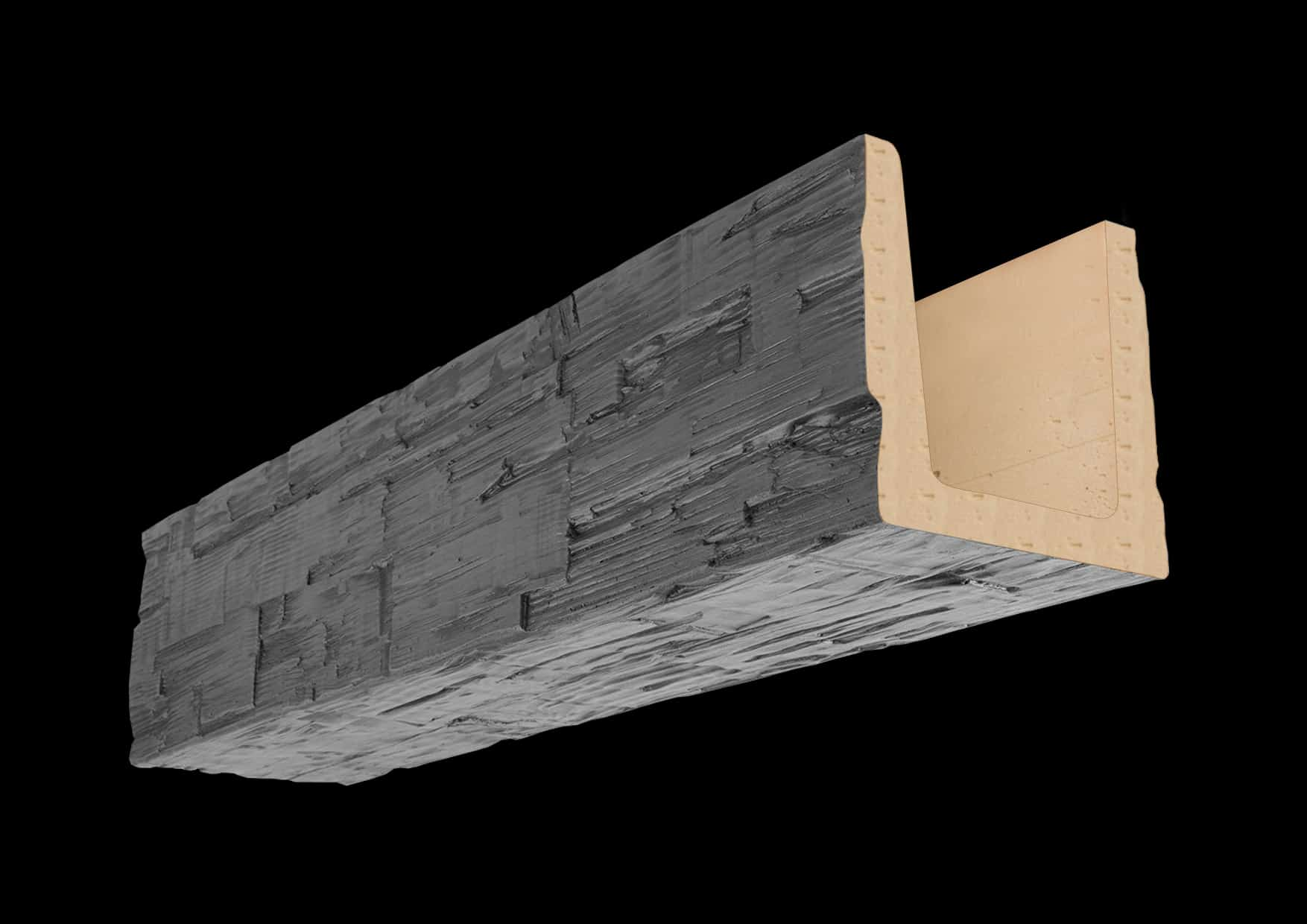 Faux Wood Ceiling Beam Molded - Hand Hewn - Gray (1b)