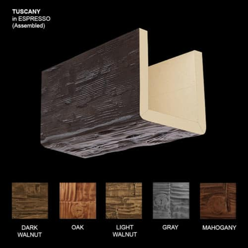 Faux Wood Ceiling Beam Sample - Tuscany - Espresso - Assembled