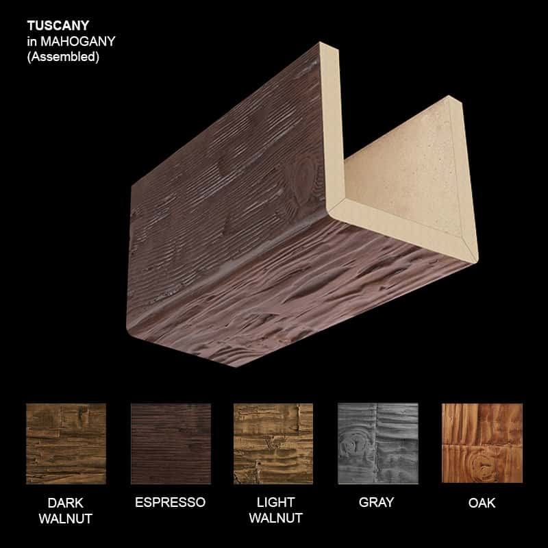 Faux Wood Ceiling Beam Sample - Tuscany - Mahogany - Assembled