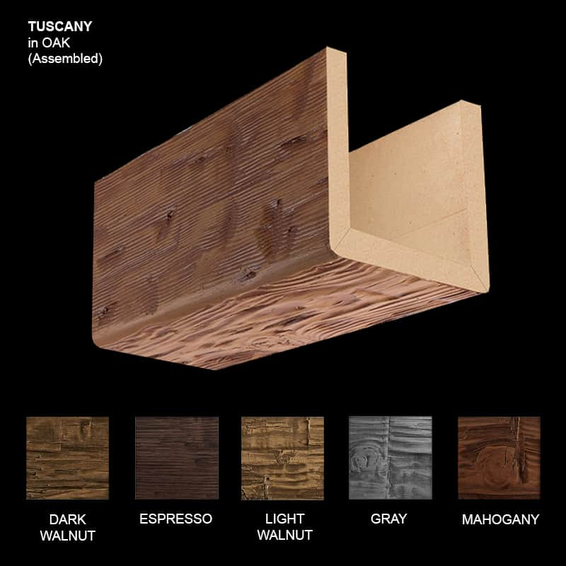 Faux Wood Ceiling Beam Sample - Tuscany - Oak - Assembled