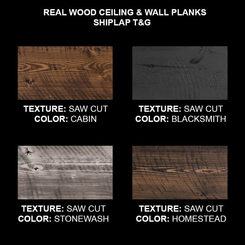 Wood Ceiling & Wall Planks - T&G Shiplap - Saw Cut - Sample Kit