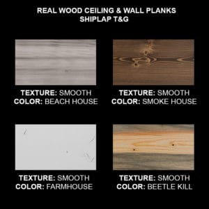 Wood Ceiling & Wall Planks - T&G Shiplap - Smooth - Sample Kit