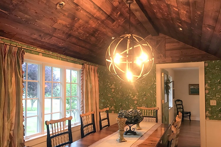 Wood Ceiling & Wall Planks - T&G Shiplap - Saw Cut - Cabin - Installed (1)