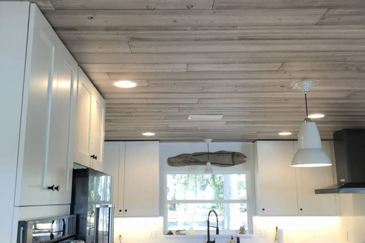 Wood Ceiling & Wall Planks - T&G Shiplap - Smooth - Beach House - Installed (1)