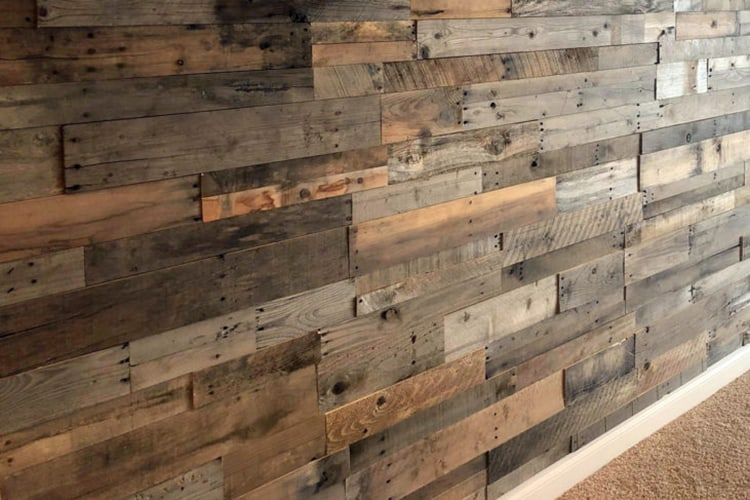 Wood Ceiling & Wall Planks - Pre-Fab Pallet Wood Panels - Installed (12)
