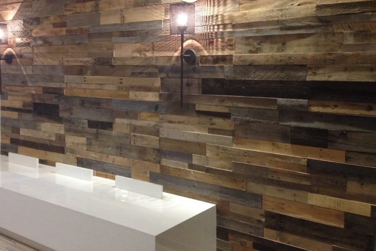 Wood Ceiling & Wall Planks - Pre-Fab Pallet Wood Panels - Installed (9)