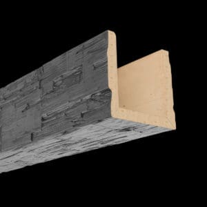 Faux Wood Ceiling Beam Assembled - Hand Hewn - Gray (2b)
