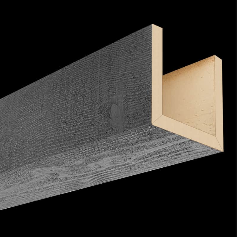 Faux Wood Ceiling Beam Assembled - Rough Sawn - Gray (2b)