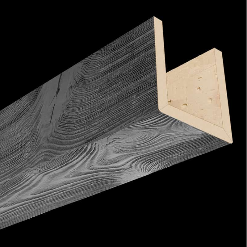 Faux Wood Ceiling Beam 3SC - Sandblasted - Gray (2b)