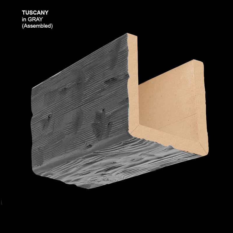 Faux Wood Ceiling Beam Sample - Tuscany - Gray - Assembled Basic