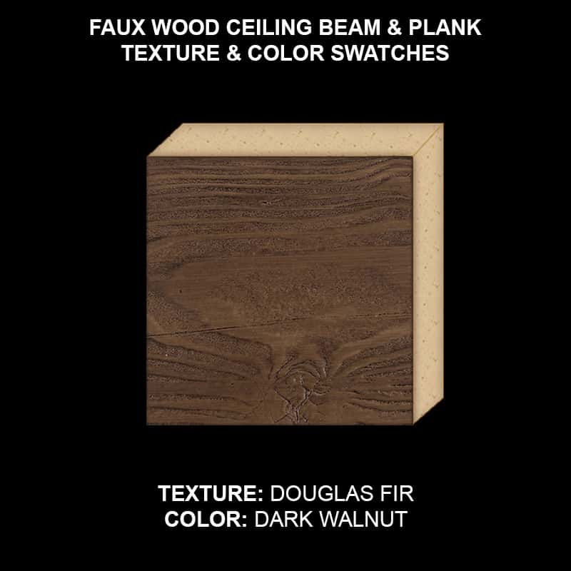 Faux Wood Ceiling Beam & Plank Swatch - Douglas Fir in Dark Walnut