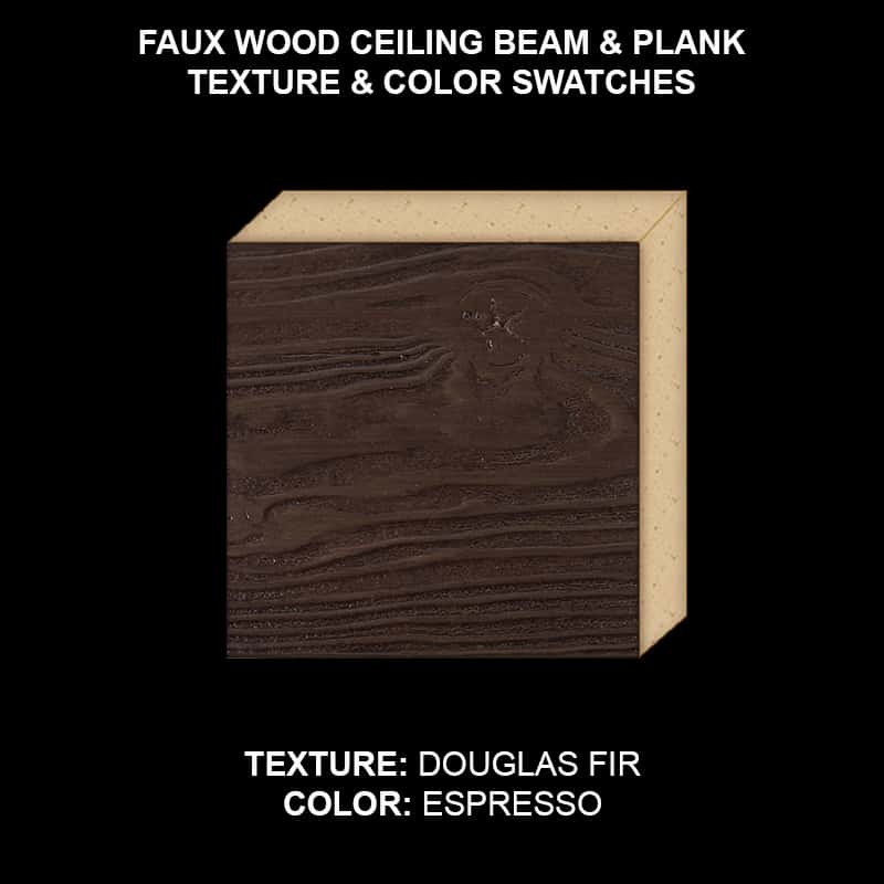 Faux Wood Ceiling Beam Swatch - Douglas Fir in Espresso