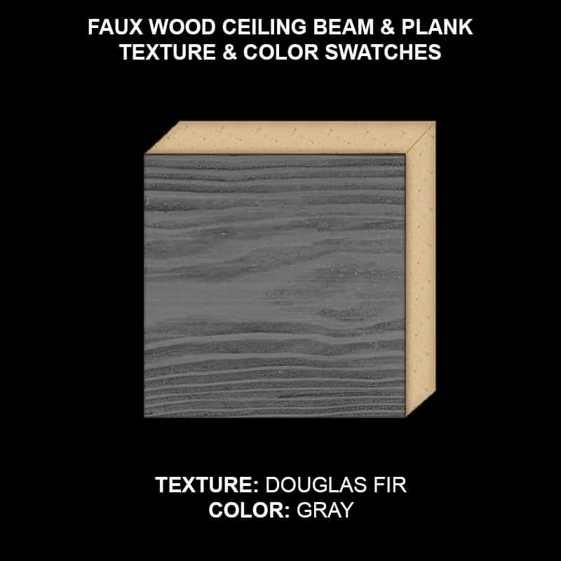 Faux Wood Ceiling Beam & Plank Swatch - Douglas Fir in Gray