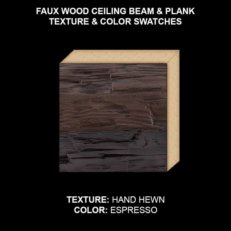 Faux Wood Ceiling Beam & Plank Swatch - Hand Hewn in Espresso