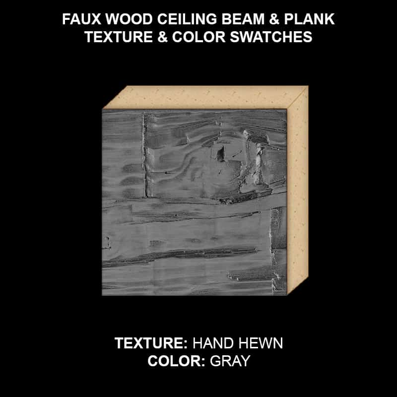 Faux Wood Ceiling Beam & Plank Swatch - Hand Hewn in GRAY