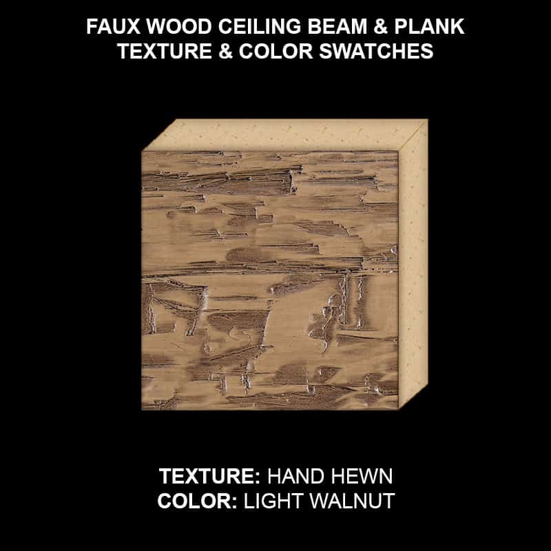 Faux Wood Ceiling Beam & Plank Swatch - Hand Hewn in Light Walnut