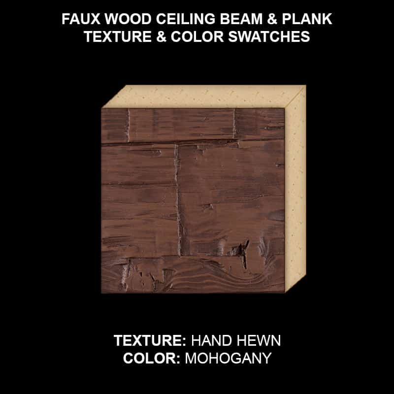 Faux Wood Ceiling Beam & Plank Swatch - Hand Hewn in Mohogany