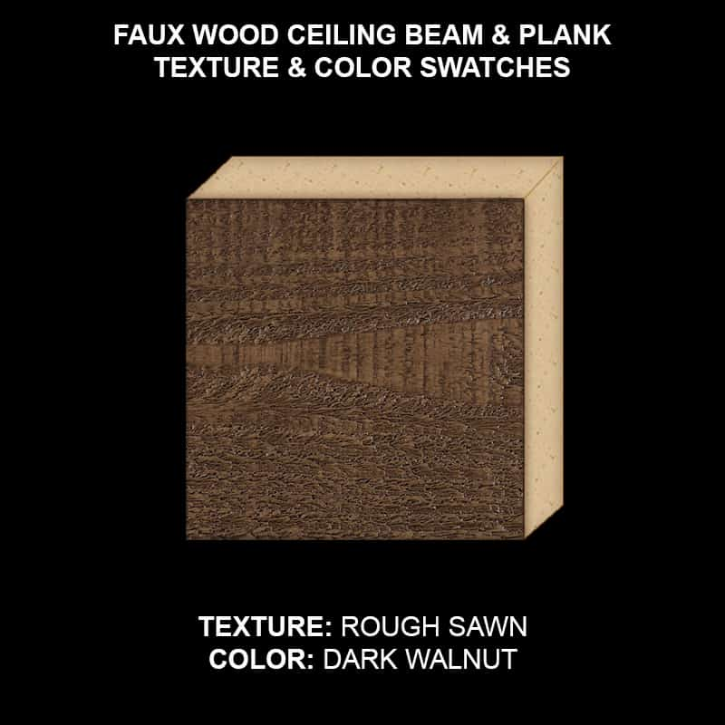 Faux Wood Ceiling Beam & Plank Swatch - Rough Sawn in Dark walnut