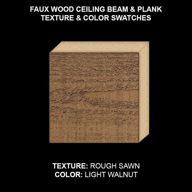 Faux Wood Ceiling Beam & Plank Swatch - Rough Sawn in Light Walnut
