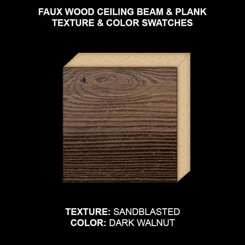 Faux Wood Ceiling Beam & Plank Swatch - Sandblasted in Dark Walnut