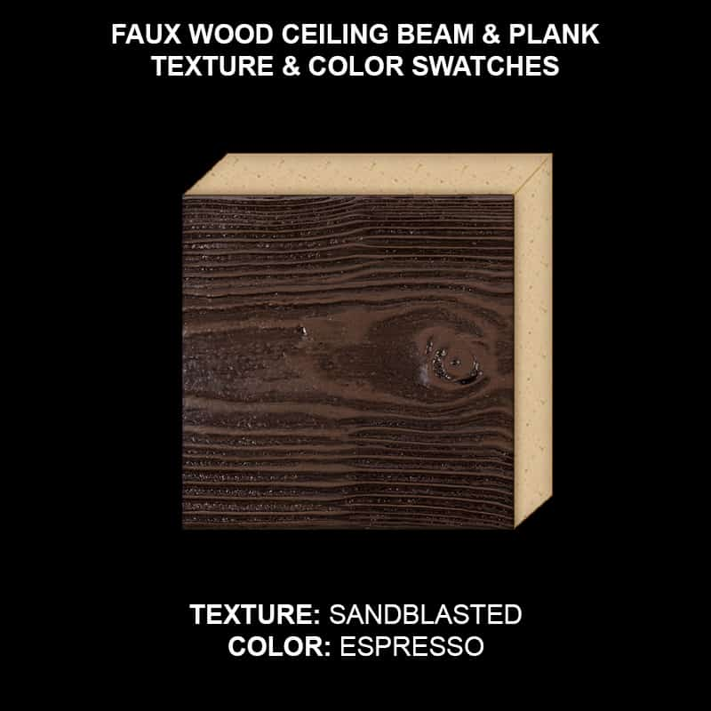 Faux Wood Ceiling Beam & Plank Swatch - Sandblasted in Espresso