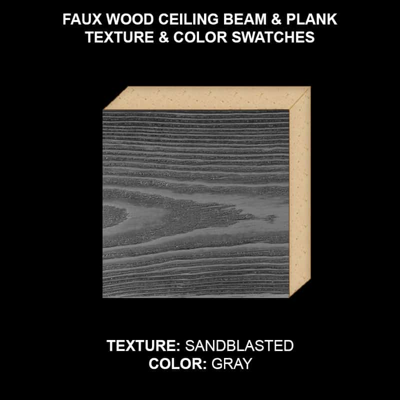 Faux Wood Ceiling Beam & Plank Swatch - Sandblasted in Gray